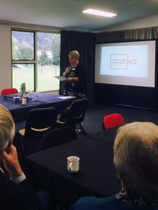 20160329 - McGuinness Institute - TacklingPovertyNZ Workshop - Mayor Vanessa van Uden opens the workshop - taken at Queenstown Memorial Hall 2